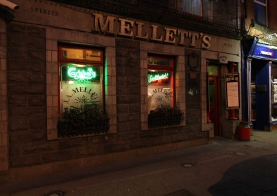 Mellett's Emporium, Co Mayo at night.