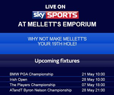 Visit Mellett's Bar & Pub in Swinford to watch live sky sports including premier league soccer games & golf