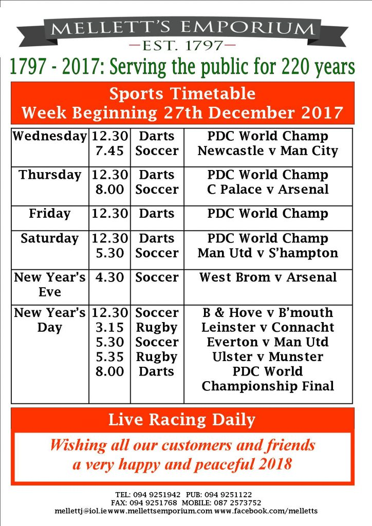 Sports live Mellett's Bar Swinford