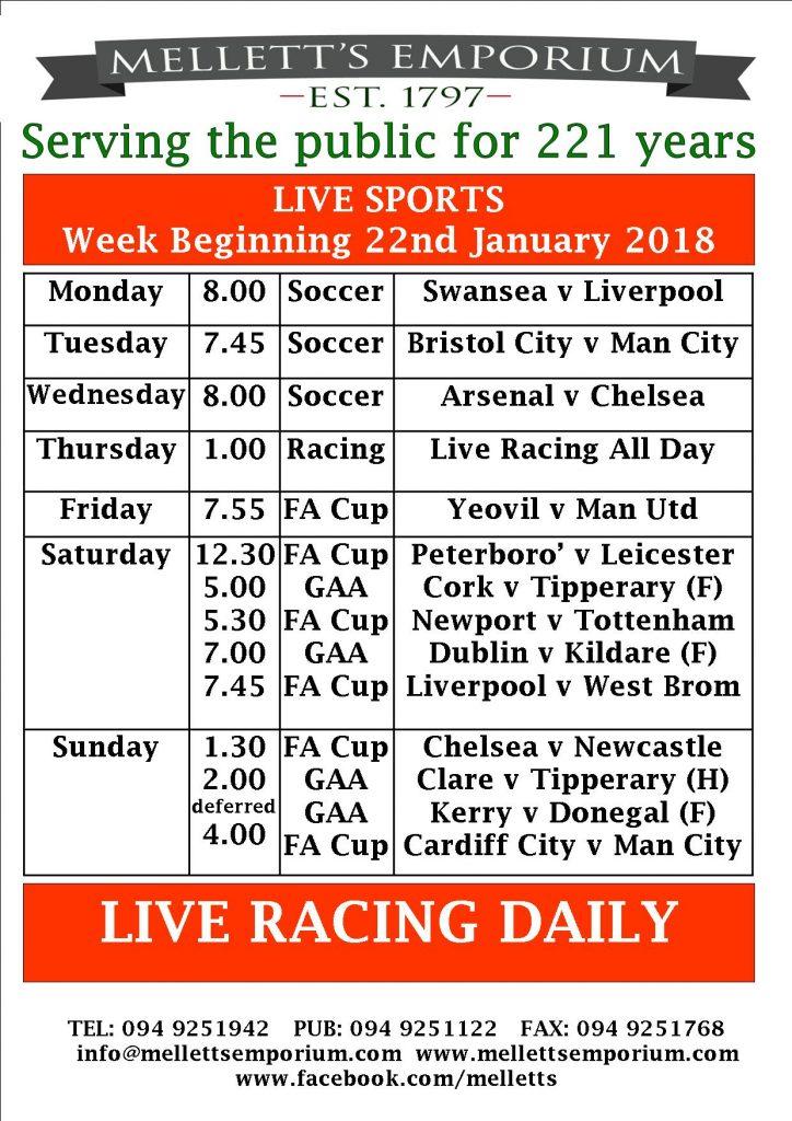 Sports live in Mellett's Pub Swinford