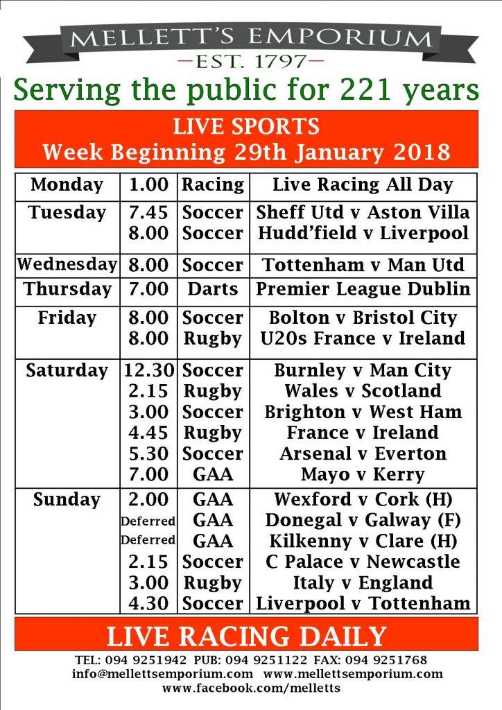 Sports live Mellett's Pub Swinford Co. Mayo