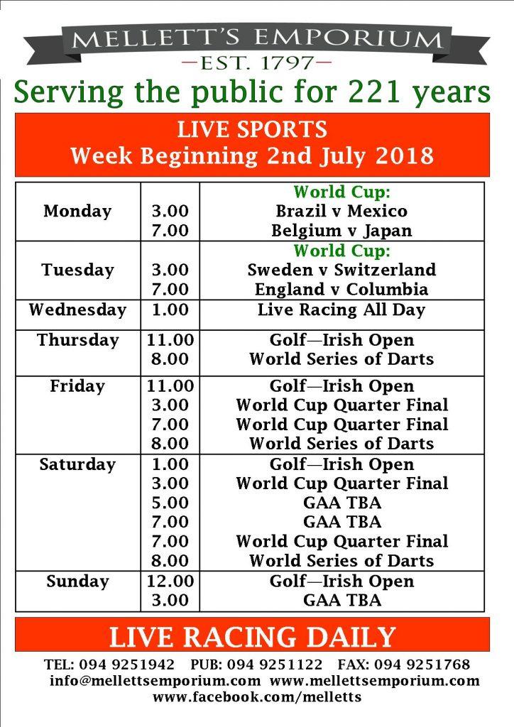 Sports live in Mellett's Pub Swinford Co. Mayo