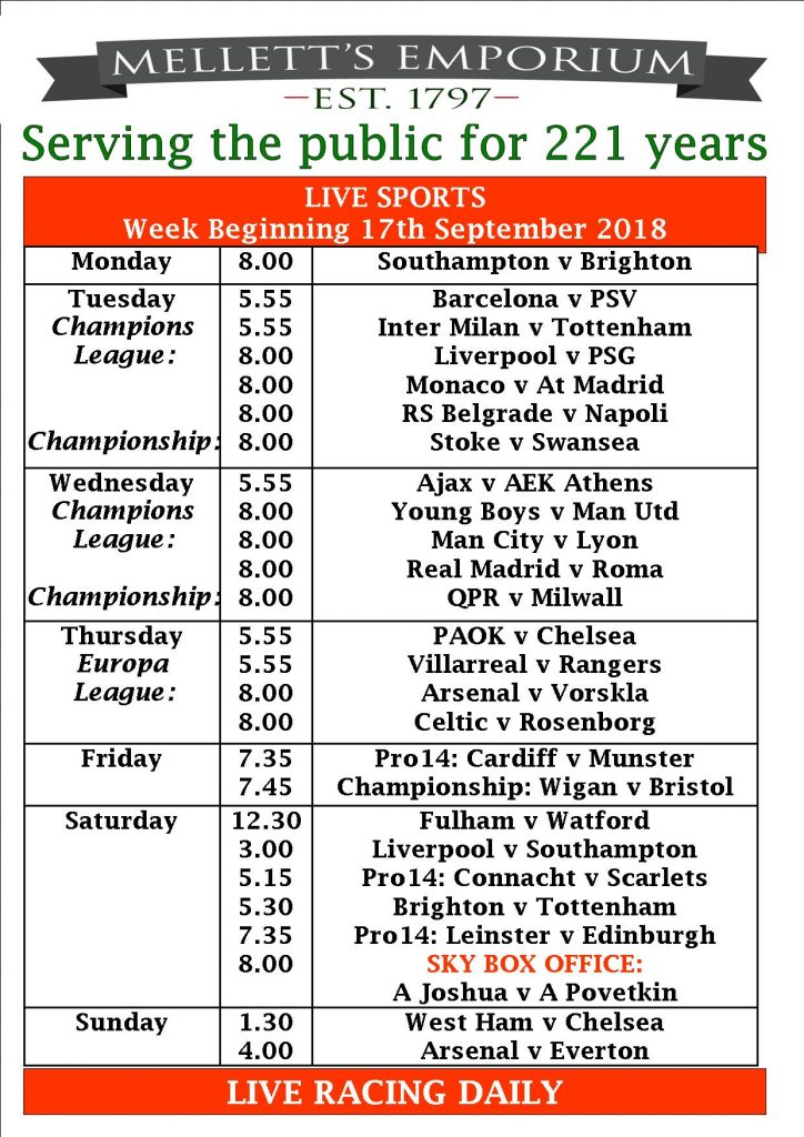 Sports live Mellett's Pub Swinford Co. Mayo