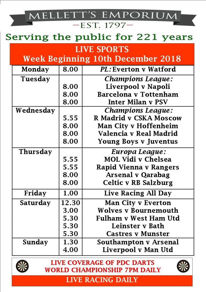 Sports live in Mellett's Pub Swinford Co. Mayo