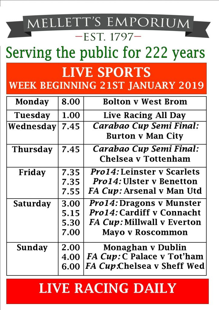 Sports live in Mellett's Pub Swinford